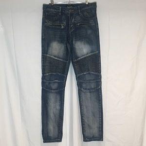 Embellish Moto Streetwear Denim Biker Skater Jeans